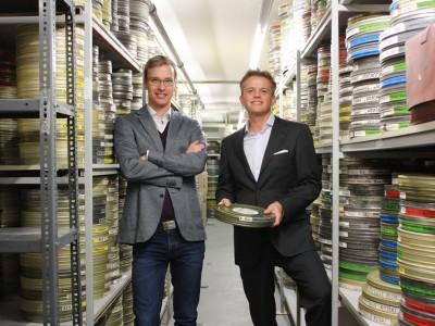 Schon seit einigen Jahren Partner in der Content-Verwertung: Antoine Schmidt-Roy (NIKITA VENTURES) und Konstantin von zur Mühlen (CHRONOS MEDIA) im Filmarchiv von CHRONOS MEDIA.